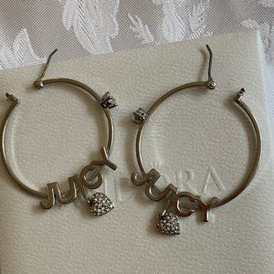 Juicy Couture Silver Tone Earrings in Pandora Box